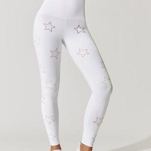 b3b98fd956 Beach Riot Pants - Beach Riot Harper Legging in White Rainbow Stars